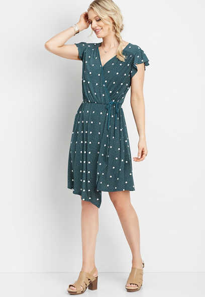 dot flutter sleeve wrap dress