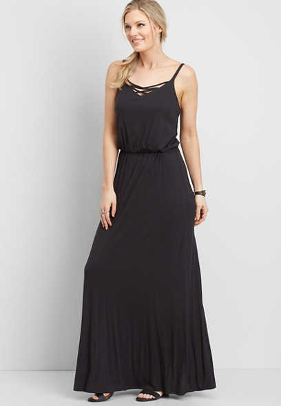 24/7 black lattice neck maxi dress