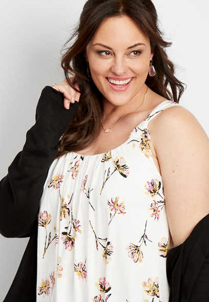 plus size knotted strap floral tank