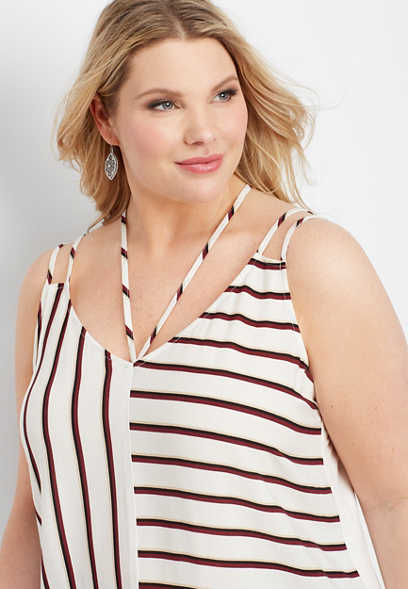 plus size stripe strappy v-neck tank