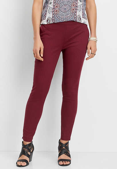 red textured pull on pant
