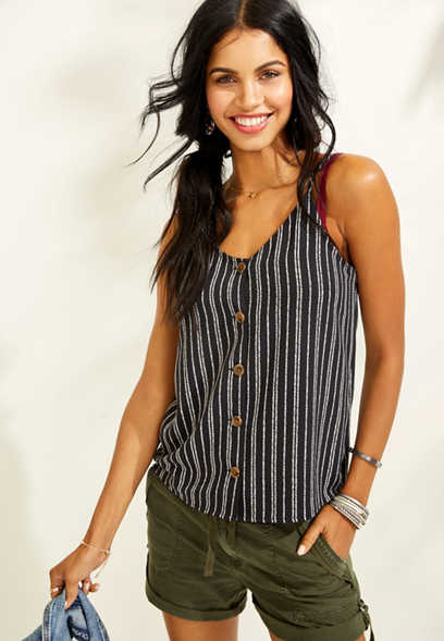 stripe button front tank
