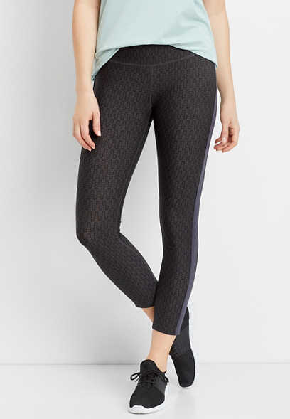 printed side stripe 7/8 active legging