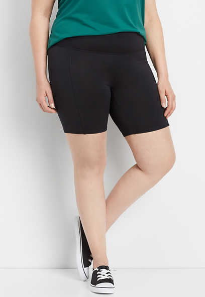 "plus size black 8"" bike shorts"