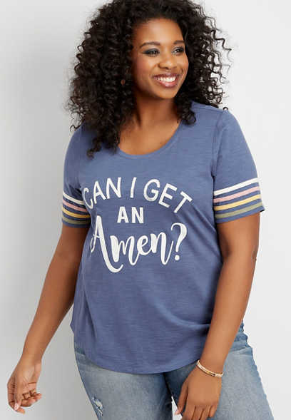 plus size get an amen graphic tee