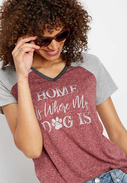 home is where my dog is graphic tee