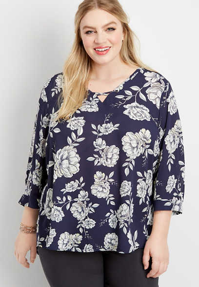 plus size floral grommet 3/4 sleeve blouse