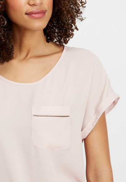 solid zipper pocket blouse