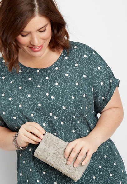 plus size dot print short sleeve top