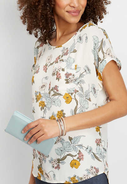 floral print pocket blouse