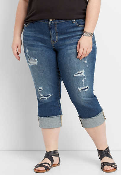 a982a46602b plus size DenimFlex™ backed destructed cuff capri