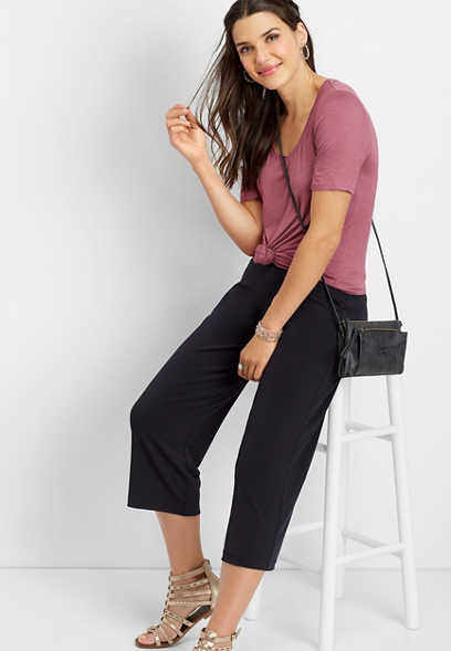 black pull on cropped wide leg pant