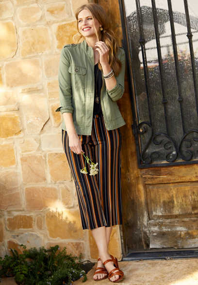 stripe pull on wide leg pant