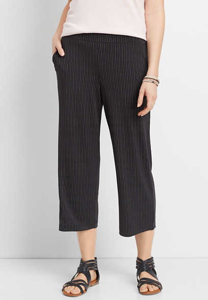 dot stripe pull on wide leg pant
