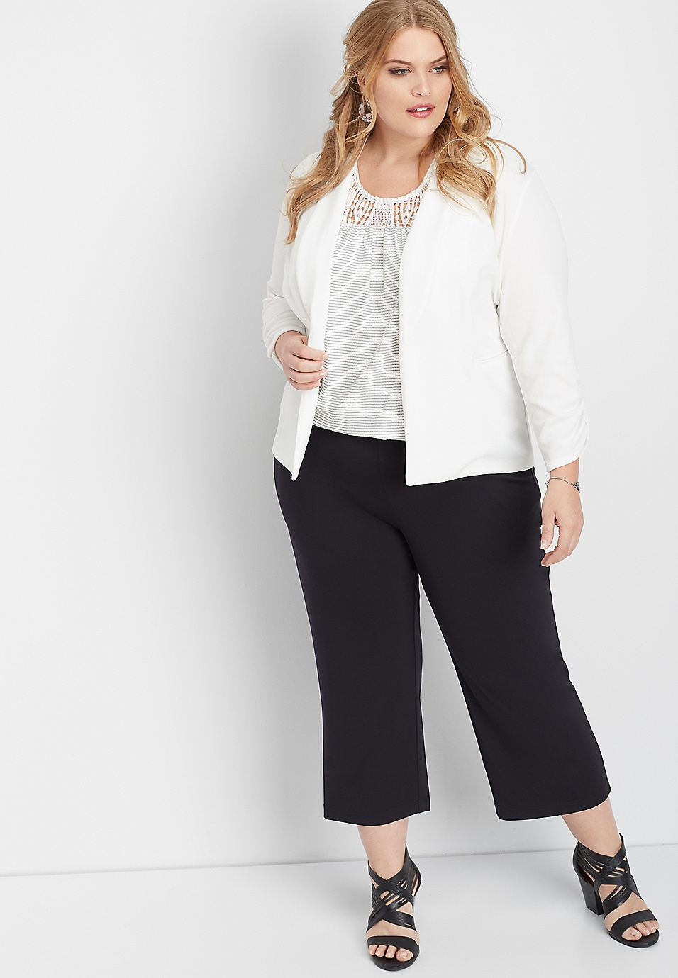 plus size black pull on cropped wide leg pant