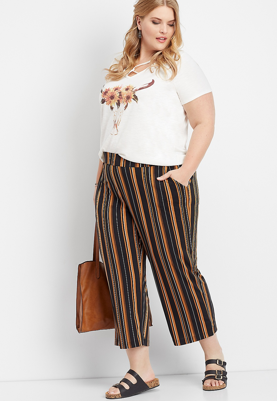 plus size stripe pull on wide leg pant | maurices