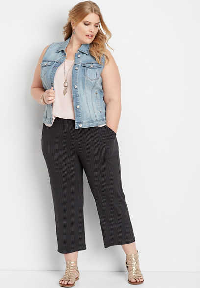 plus size dot stripe pull on wide leg pant