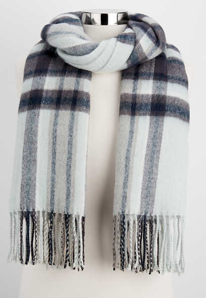 brushed plaid oblong scarf