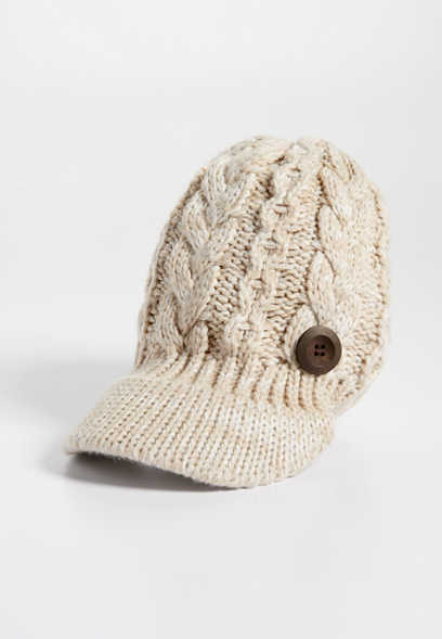 cable knit cabby hat