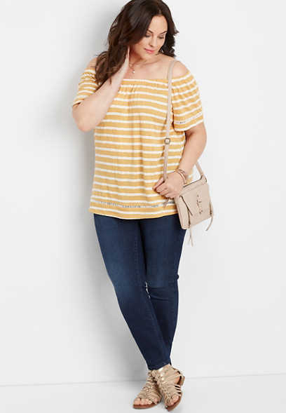 plus size stripe off the shoulder top