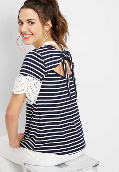 stripe open back novelty sleeve top