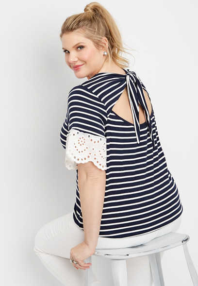 plus size stripe open back novelty sleeve top