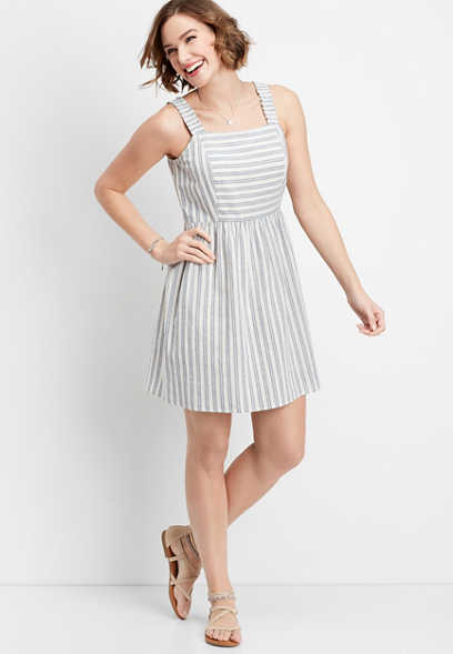 stripe cinched strap dress