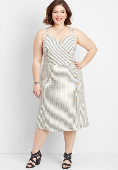 plus size stripe button front wrap dress