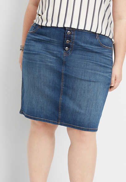 plus size dark button fly denim skirt