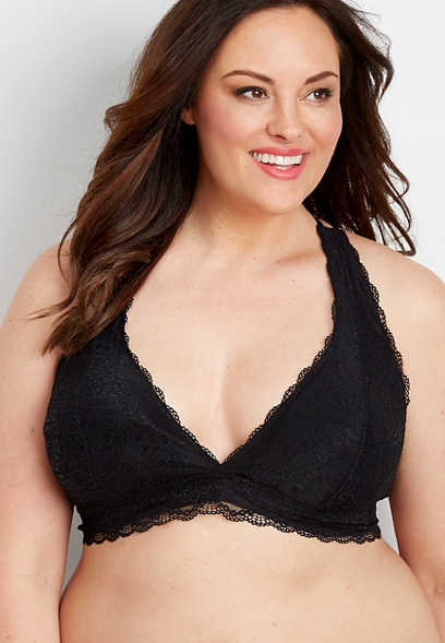 plus size lace butterfly back bralette
