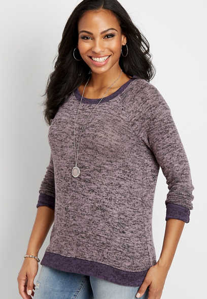 brushed scoop neck basic pullover
