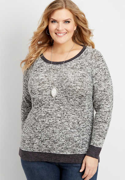 plus size brushed scoop neck basic pullover