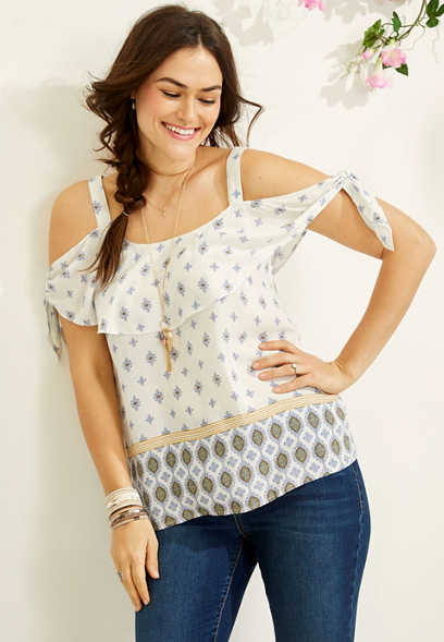 border print cold shoulder tee