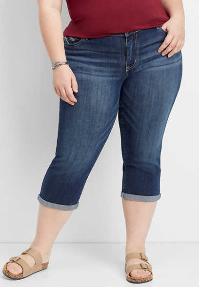 plus size DenimFlex™ embellished pocket cropped jean