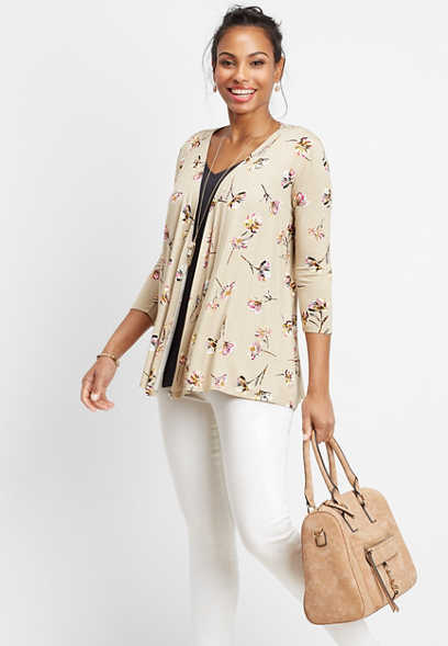 b4a4d25767ad1 floral open front cardigan
