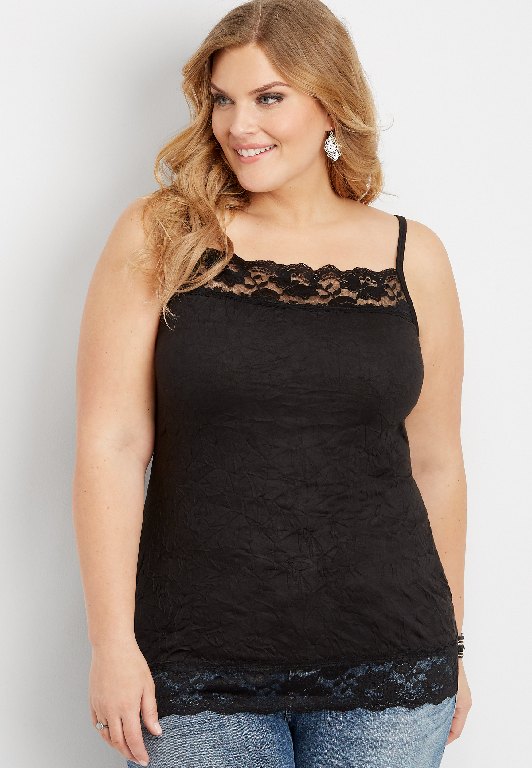 Plus Size Fitted Crinkle Cami by Maurices