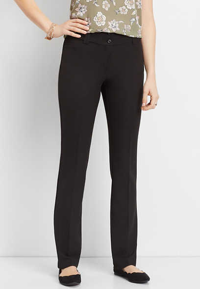 black double button bootcut pant