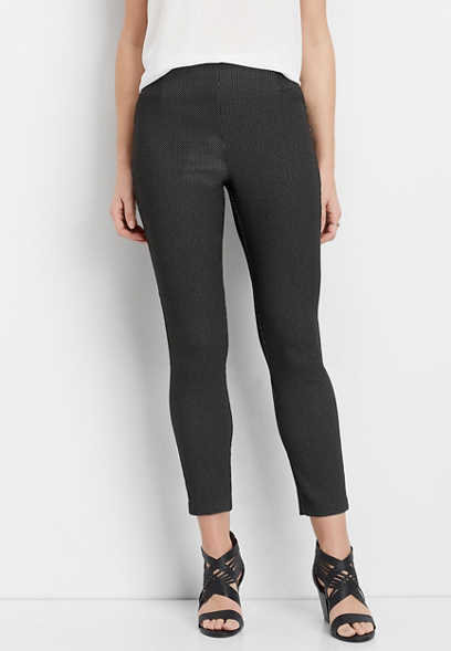 textured high rise skinny ankle pant