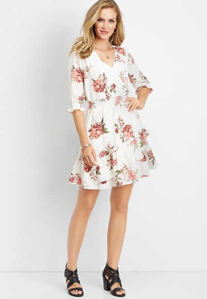 ruffled white floral smock dress