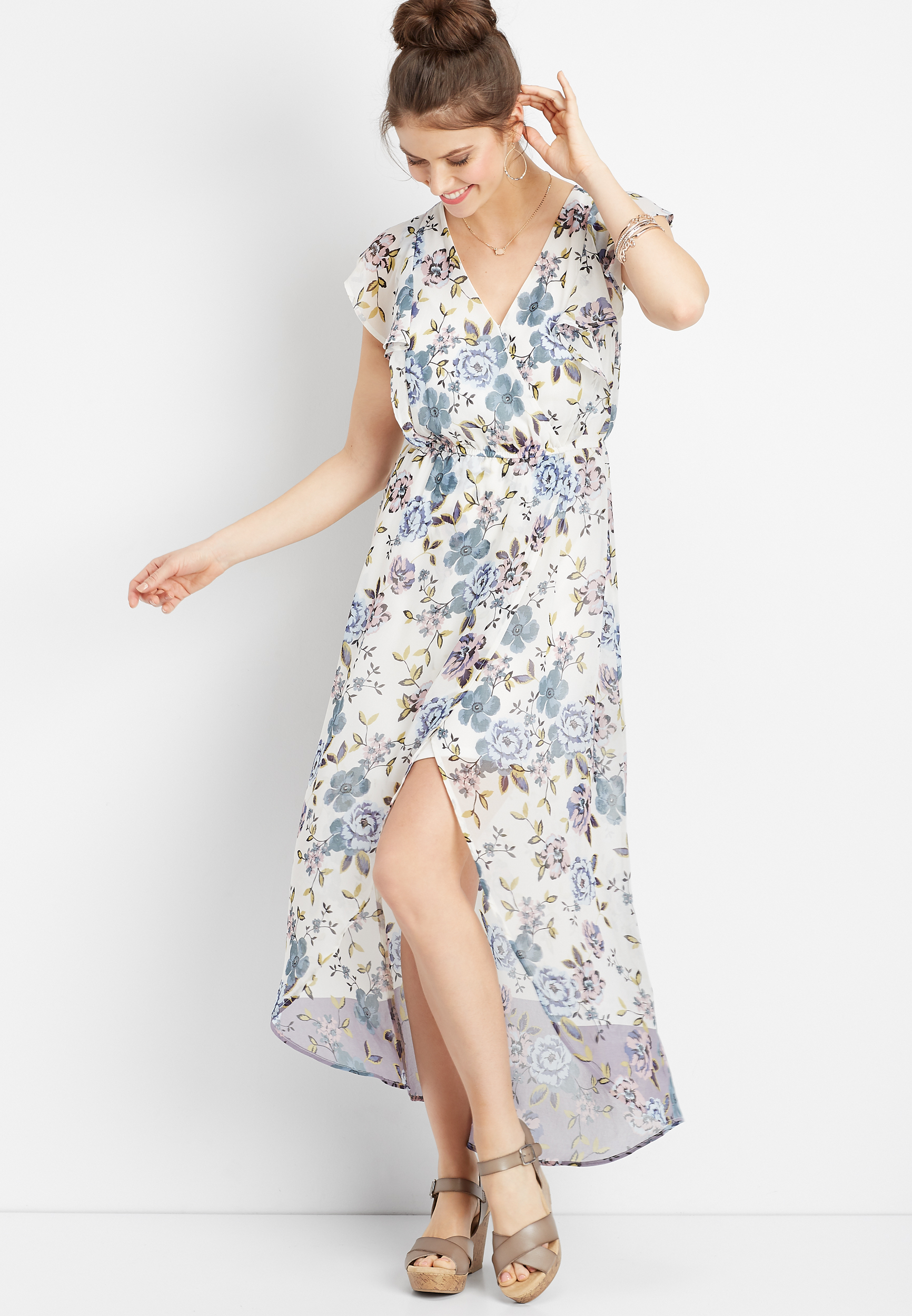 Floral Flutter Sleeve Maxi Dress by Maurices