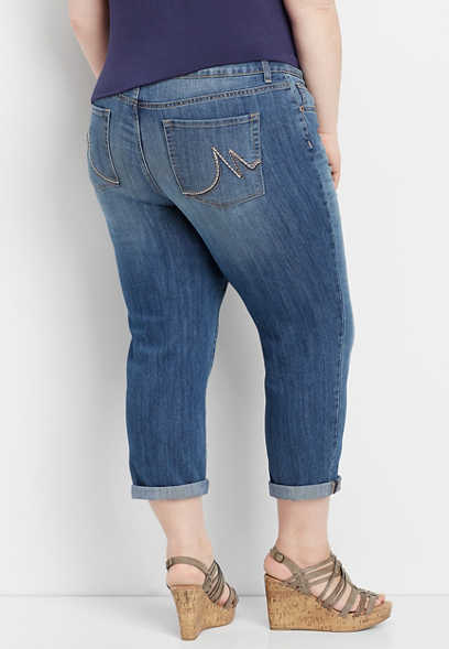 plus size DenimFlex™ medium blast cropped jean