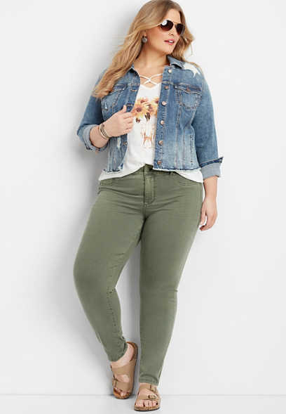 plus size DenimFlex™ olive cloud jegging