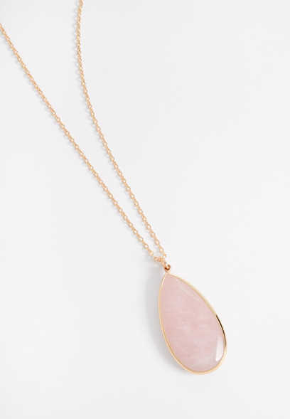 framed pink stone pendant necklace