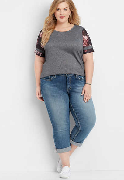 5ef480364f0 plus size Silver Jeans Co.® Suki medium wash capri