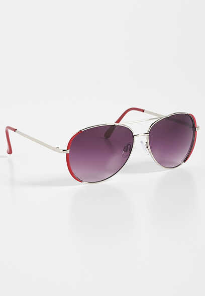 colored rim aviator sunglasses