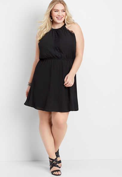 plus size lace trim halter dress