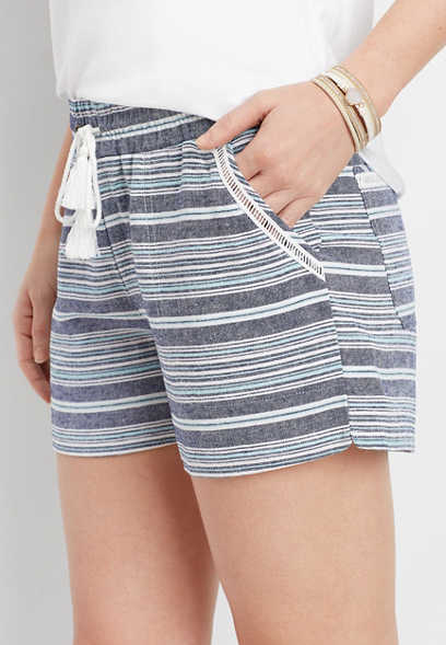 stripe pull on 3.5in short