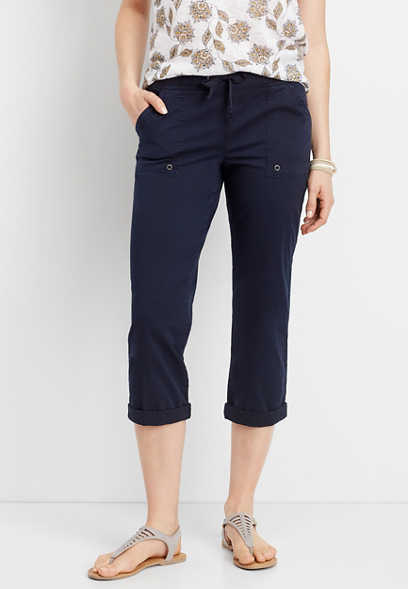 navy knit waist cropped pant