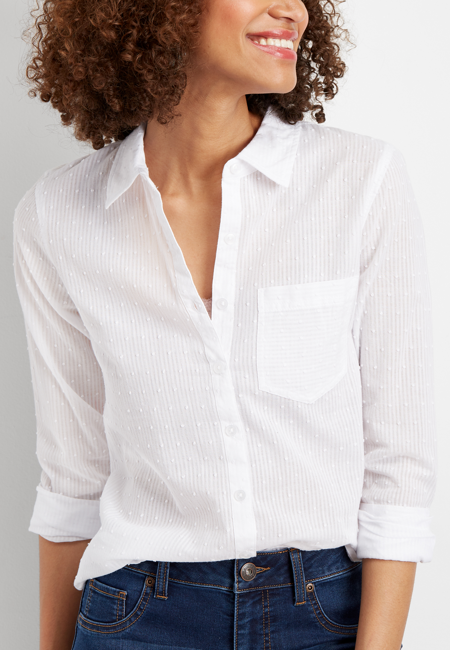 Solid Clip Dot Button Down Shirt by Maurices