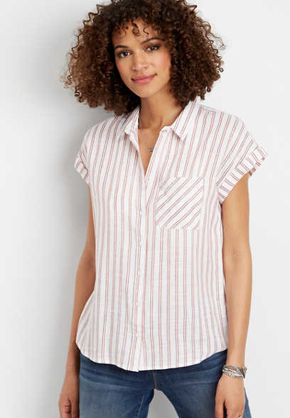 stripe short sleeve button down shirt